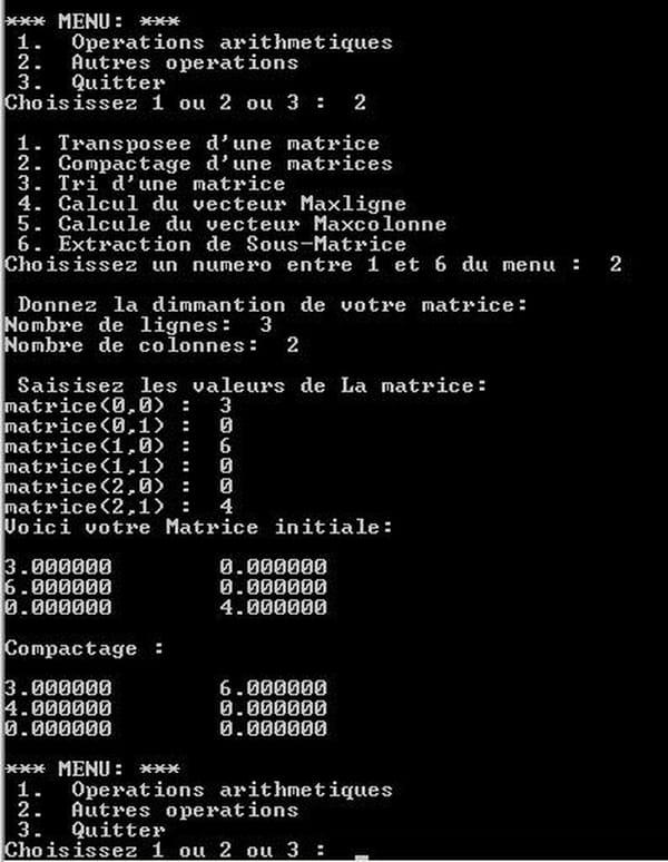 C C C Net Operations Sur Les Matrices Tableau A Deux