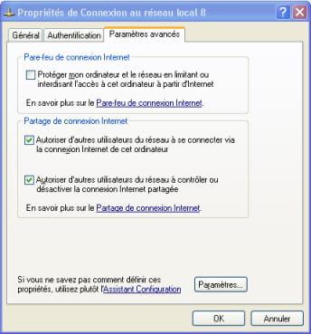 partage de connexion internet sous XP