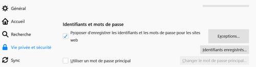 Protéger les mots de passe enregistrés dans Firefox PRAT03