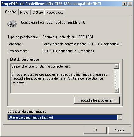 COMPATIBLE OHCI 1394 IEEE TÉLÉCHARGER PILOTE CONTROLEUR HOTE
