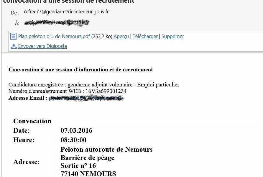 adresse mail gendarmerie rsolu