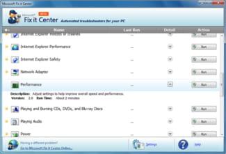 Fix it Center est un logiciel de dépannage pour Windows 7, XP et Vista. Il permet de détecter et corriger d'éventuelles erreurs du système.