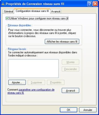 Boîte de dialogue - Utiliser Windows pour configurer mon réseau sans fil