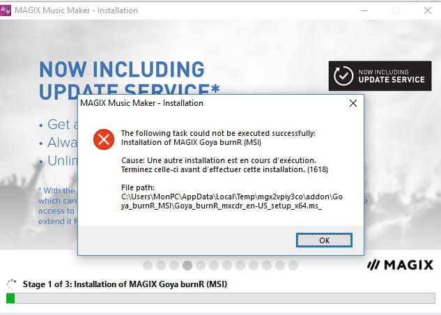 Installation en cours de magix avec erreur - Forum Logiciels