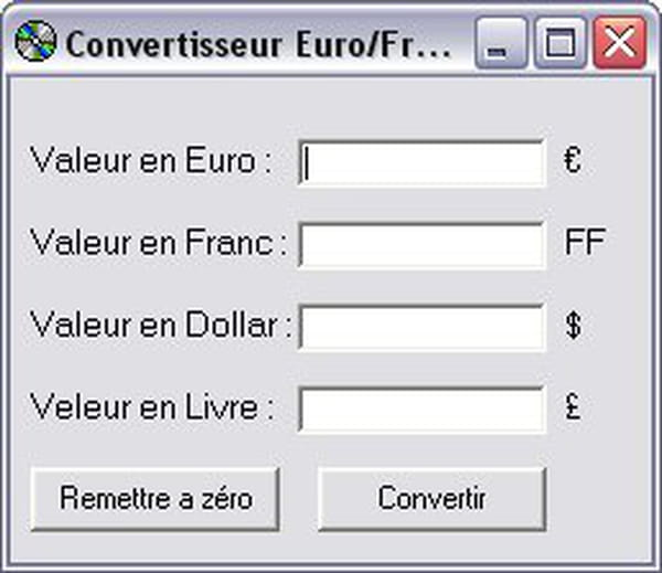 Visual Basic Vb Net Conversion Euro Franc Dollar Livre