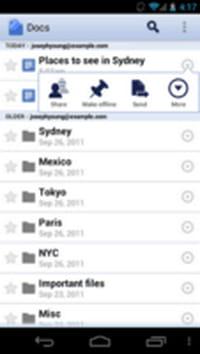 Google Docs pour Android supporte l'accès à ses fichiers hors connexion