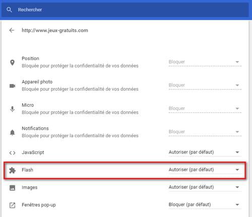 Activer Flash sur un site sous Chrome