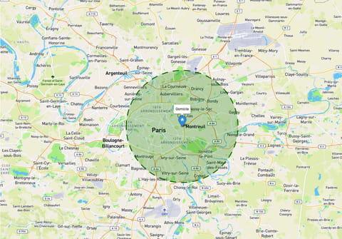 Rayon de 10km: afficher le périmètre de sortie sur une carte