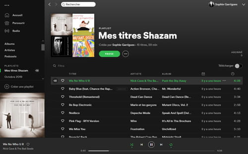 Sauvegarder ses découvertes Shazam dans une playlist Spotify Shazam_Spotify