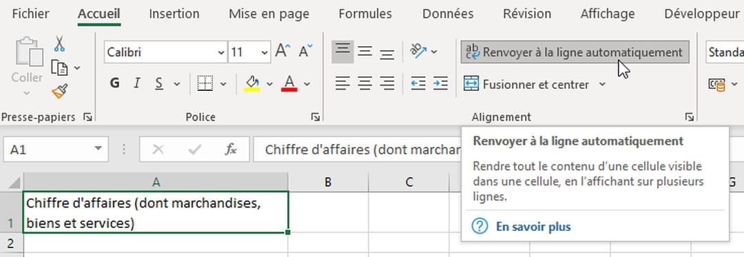 Aller A La Ligne Dans Une Cellule Excel