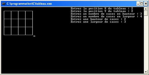 C C C Net Dessiner Un Tableau En Mode Texte Dev C