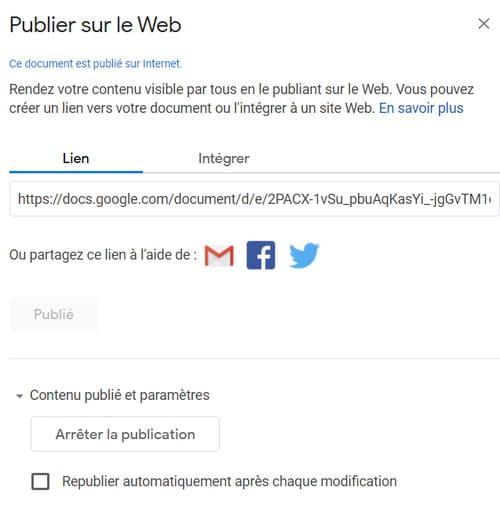 Partager des fichiers Google Docs, Sheets ou Slides sur le Web PRAT4