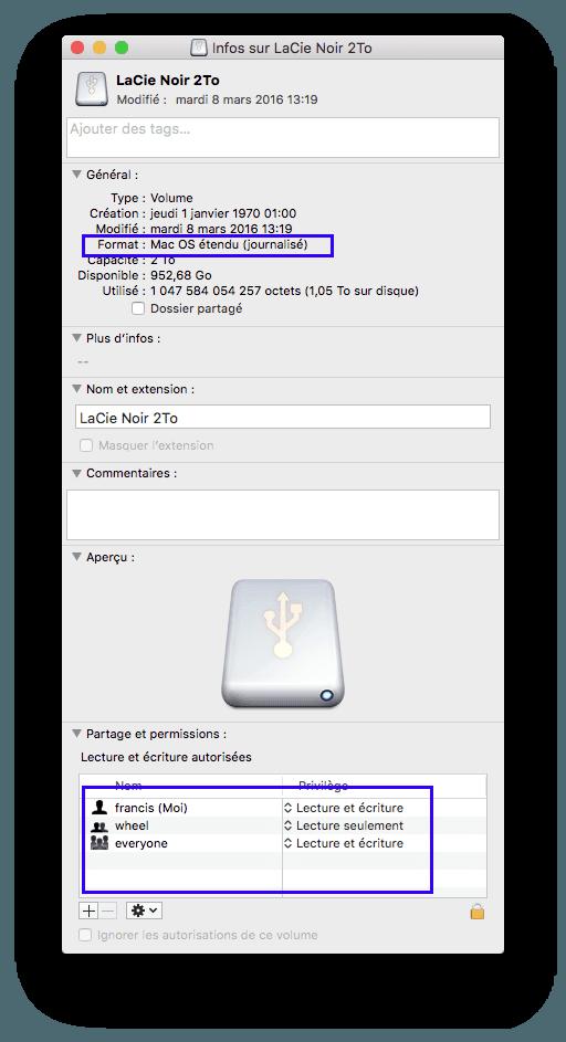 Transfert impossible de fichiers du mac vers disque dur for Fenetre utilitaire mac