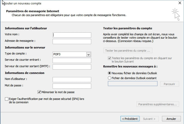 comment configurer outlook 2010 avec free