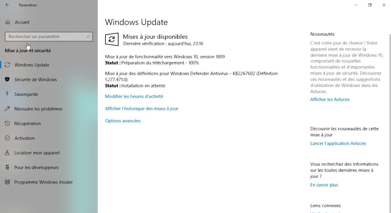 Windows 10 1809 : installer la mise à jour d'Octobre 2018