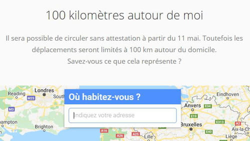 Déconfinement : visualiser une distance de 100 km à vol d'oiseau 100km