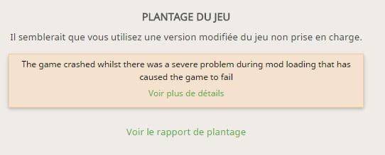 Mon modpack minecraft crash - Jeux en ligne: Minecraft