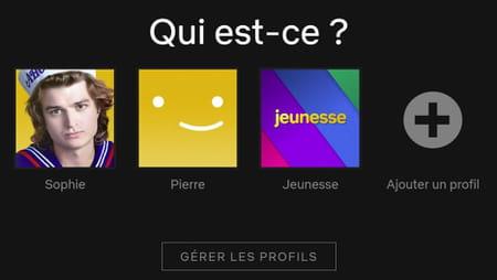 Gérer profils Netflix