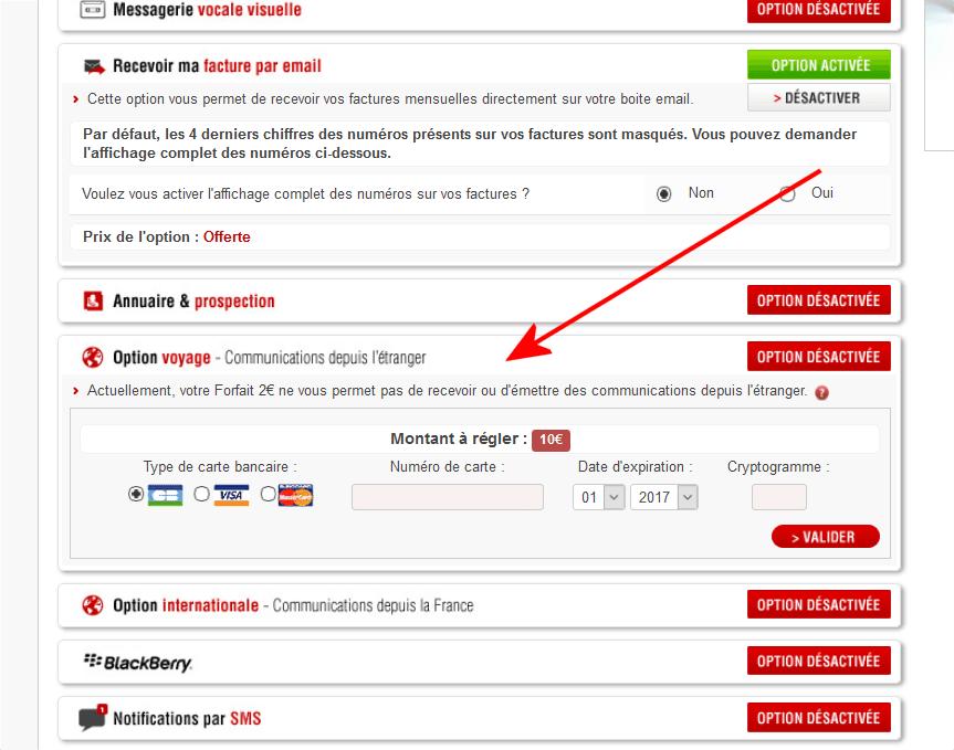 forfait free a 2 euros etranger