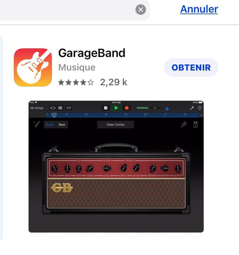 Je n'arrive pas à télécharger garageband sur mon iPhone