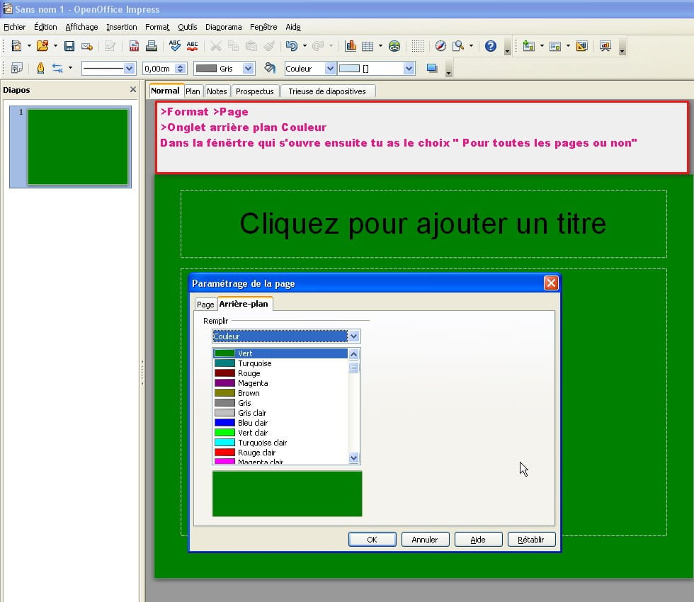 Comment faire le remplissage d 39 un fond sur open office - Comment faire un organigramme sur open office ...