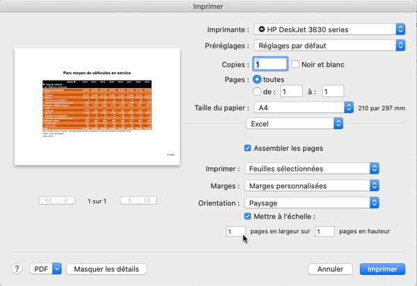 Imprimer un tableau Excel sur une seule page