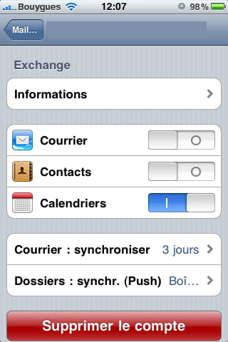 Serveur imap free iphone