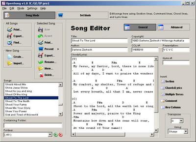 Télécharger OpenSong (gratuit)