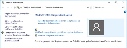 Changer le mot de passe de Windows