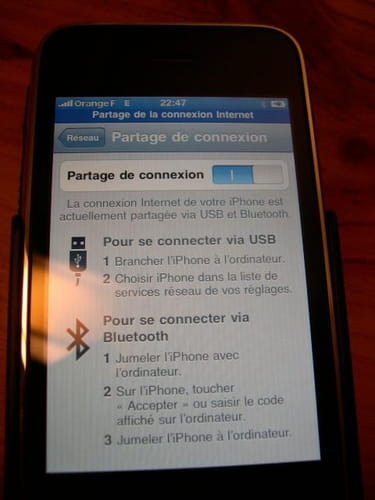 iphone comme modem 3g  4g  wifi  usb