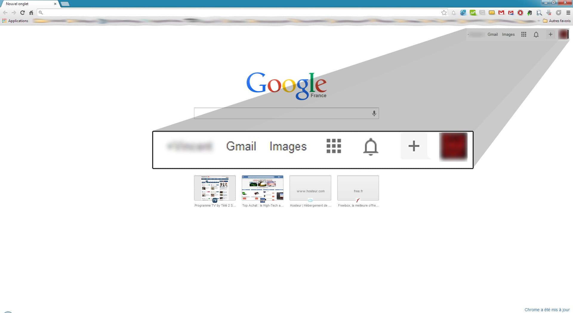 Gmail Ne S Affiche Pas Sur La Page D Accueil Google Chrome