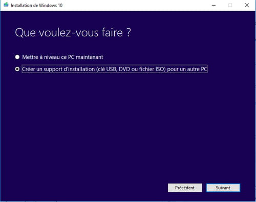 Créer un support d'installation bootable avec Media Creation Tool