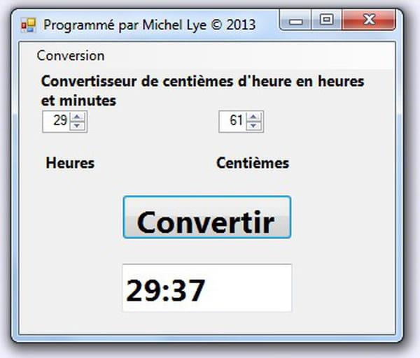 Visual Basic / VB.NET : Conversion d heures et centiemes en heures et minutes avec reciproque ...