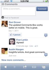 Le plugin « commentaires » de Facebook disponible pour les sites web mobiles