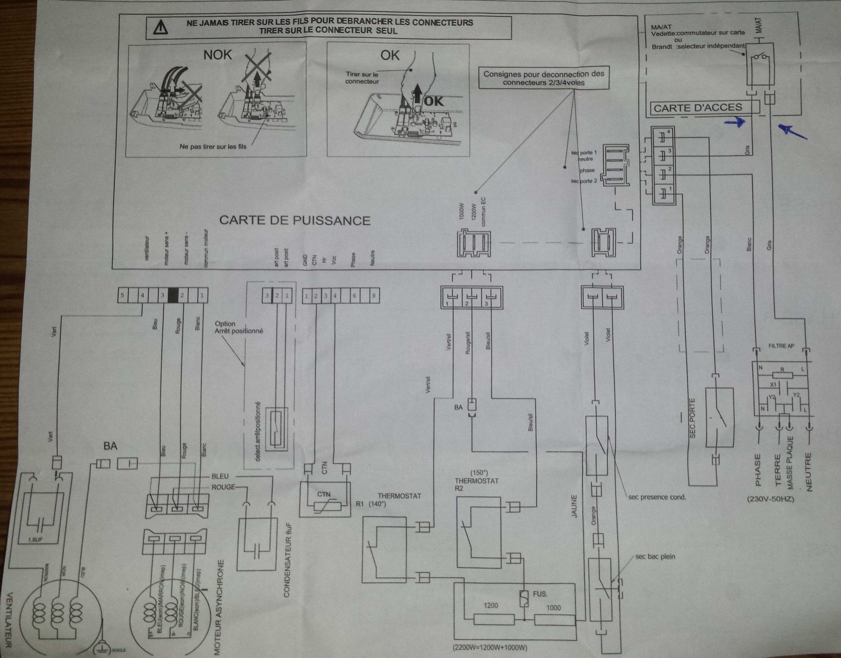 seche linge vst6520 branchement programmateur r solu. Black Bedroom Furniture Sets. Home Design Ideas