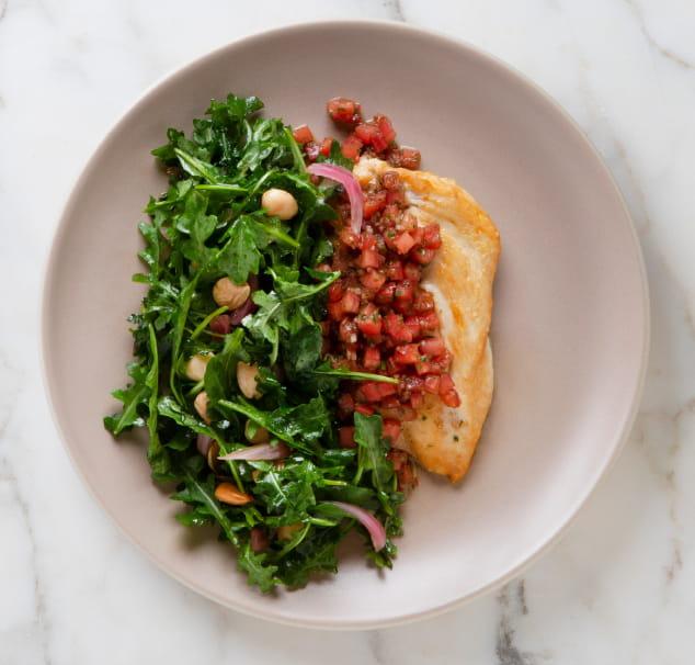 pillard poulet avec salade roquette