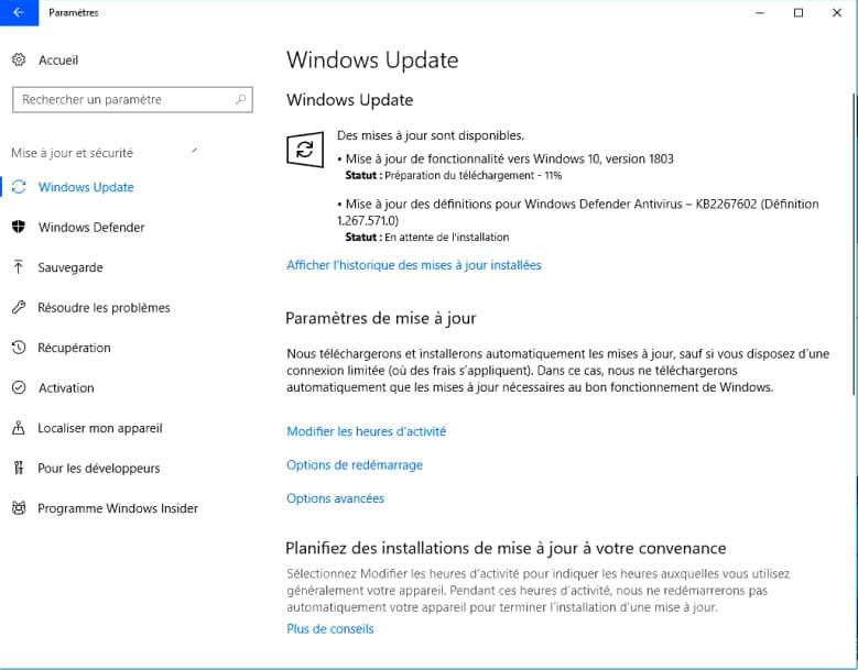 Windows 10 1803 - Installer la mise à jour Windows 10 April