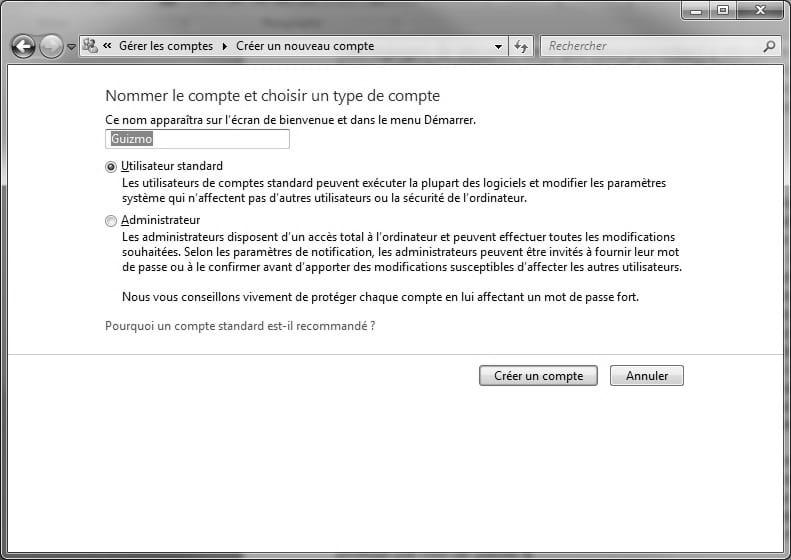 6a598084fc4dcb Nommez ce compte et sélectionnez son type « Utilisateur standard » ou «  Administrateur » avant de cliquer sur le bouton « Créer un compte ».