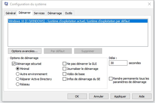 Mode sans échec sous Windows 10