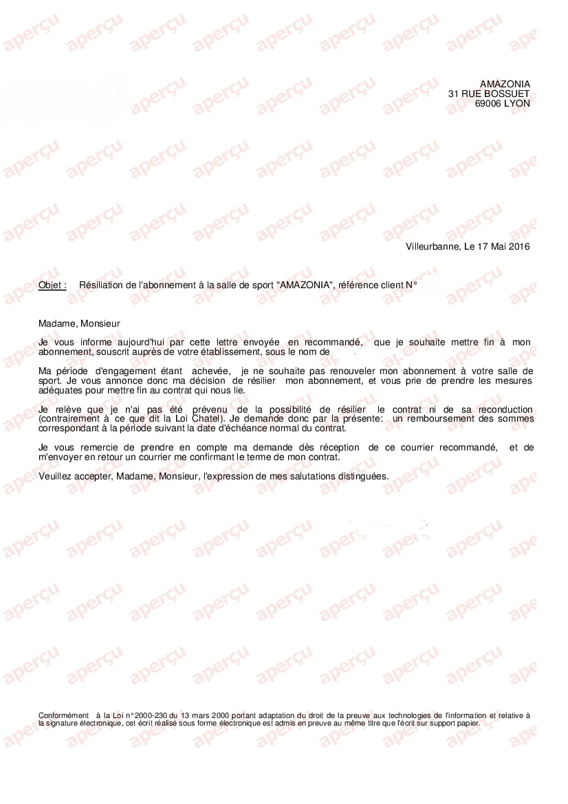 réponse à une lettre de résiliation de contrat Résiliation et remboursement Amazonia réponse à une lettre de résiliation de contrat