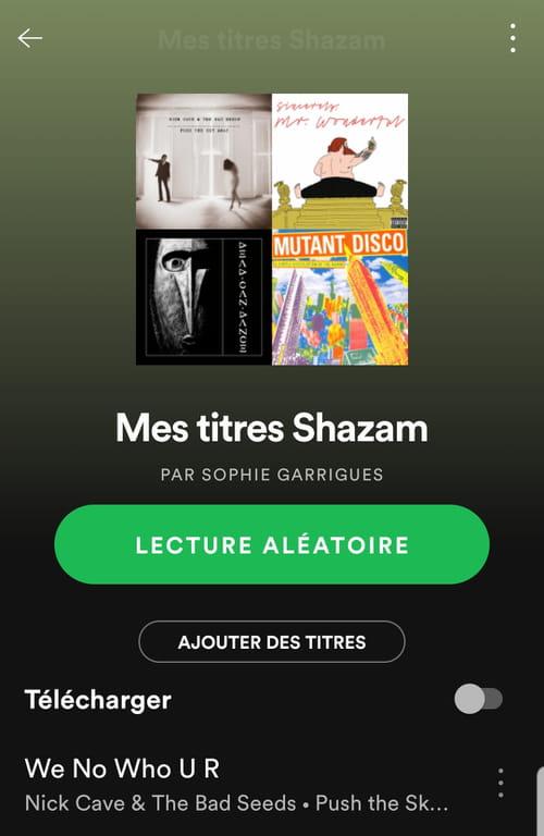 Sauvegarder ses découvertes Shazam dans une playlist Spotify Mes_titres_Shazam_mobile