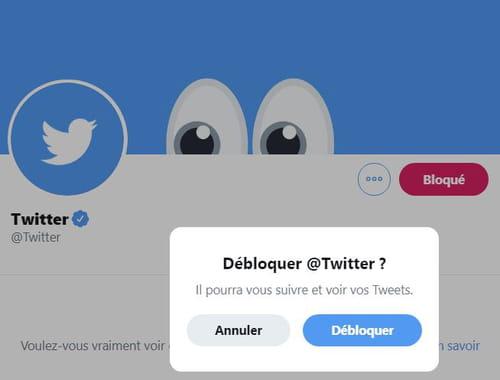 Bloquer et débloquer un utilisateur sur Twitter Debloquer