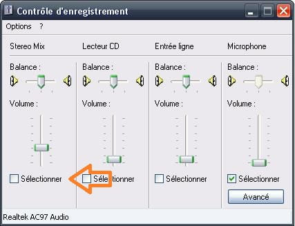 table de mixage windows 7