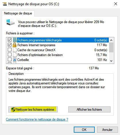 Nettoyer les fichiers système pour supprimer Windows.old