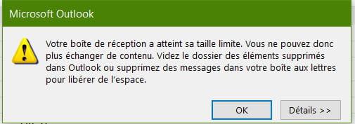 Outlook votre bo te de r ception a atteint sa taille - Office 365 comment ca marche ...