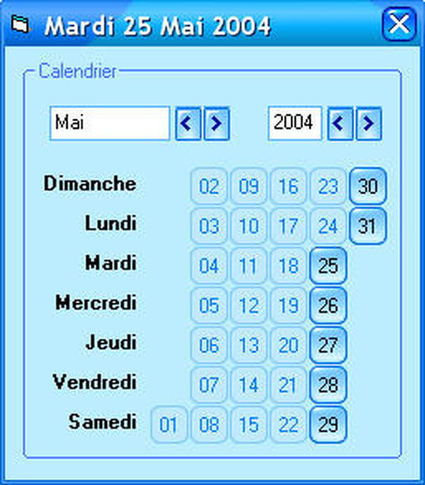 Calendrier Sans Annee.Visual Basic Vb Net Calendrier Sans Ocx Gere Les