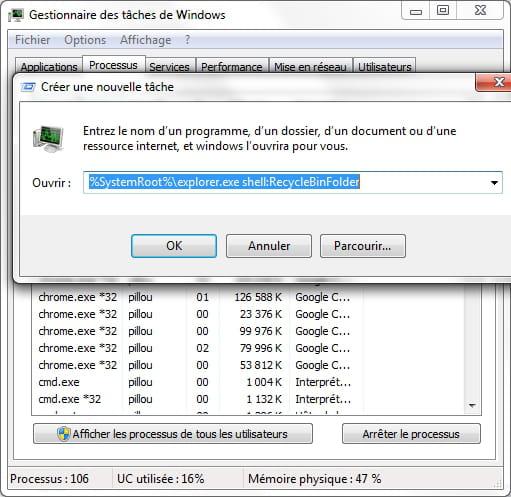 Emplacement Corbeille Dans Windows Seven Resolu