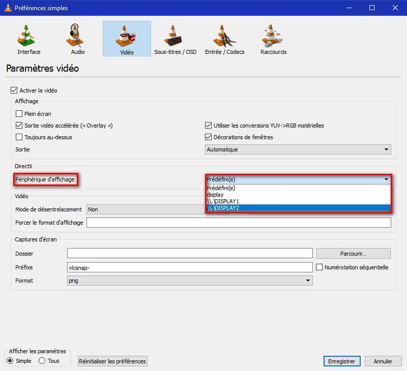 Lire vidéo automatiquement sur écran étendu avec VLC