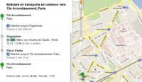 Google Maps intègre le calcul d'itinéraires via les transports parisiens