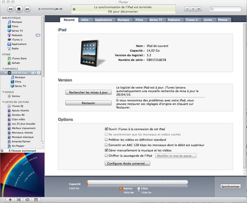 Branchement iTunes